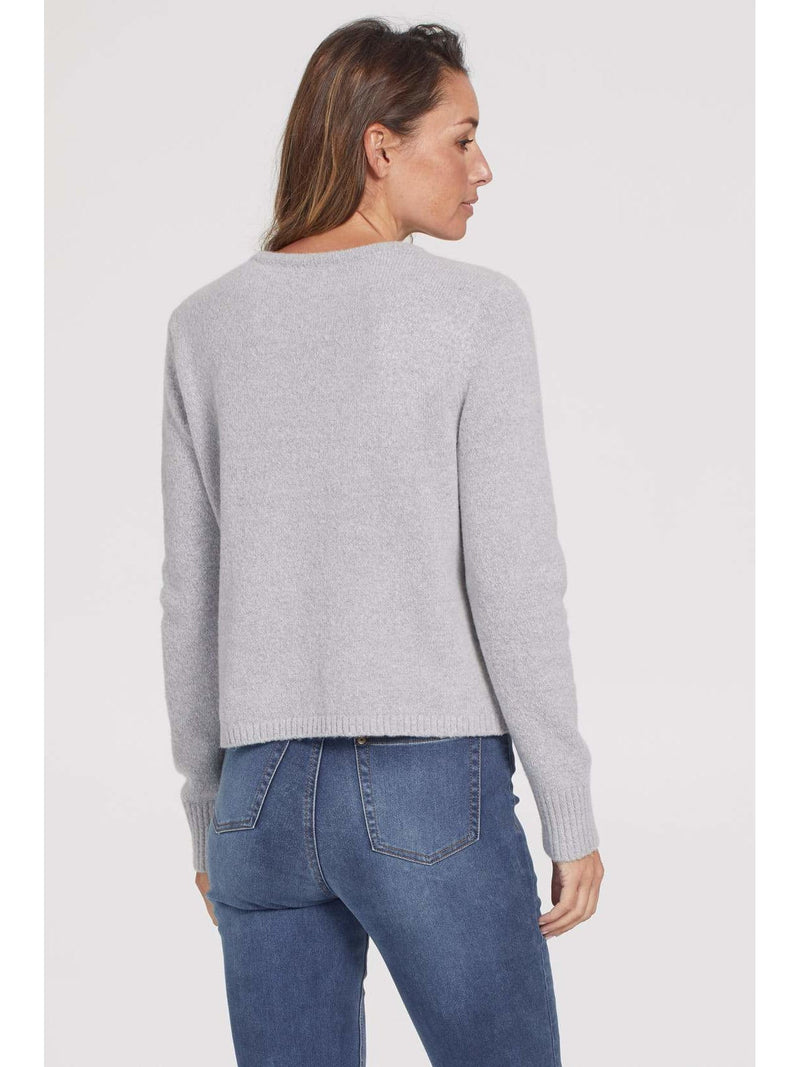 Cable Front Sweater With Pearl Detail