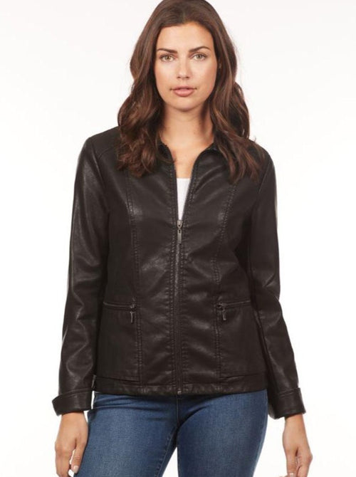Faux Leather Zip Jacket