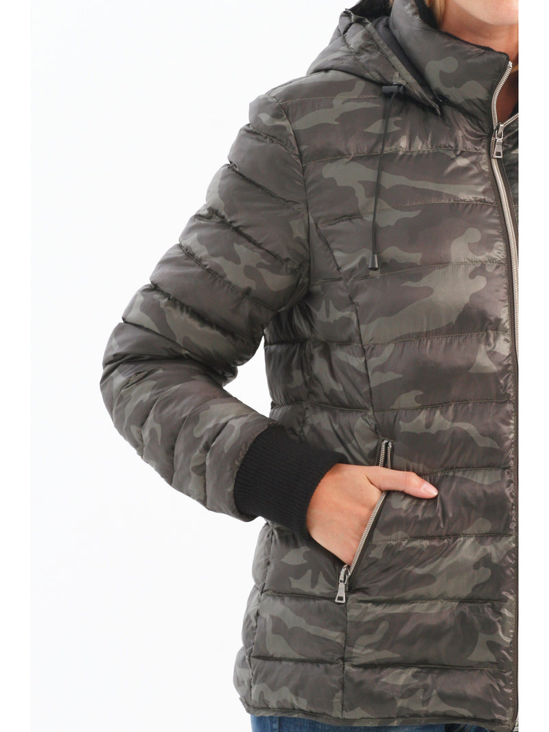 Printed Puffer Jacket With Hood Camo