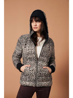 Printed Puffer Jacket With Hood Leopard