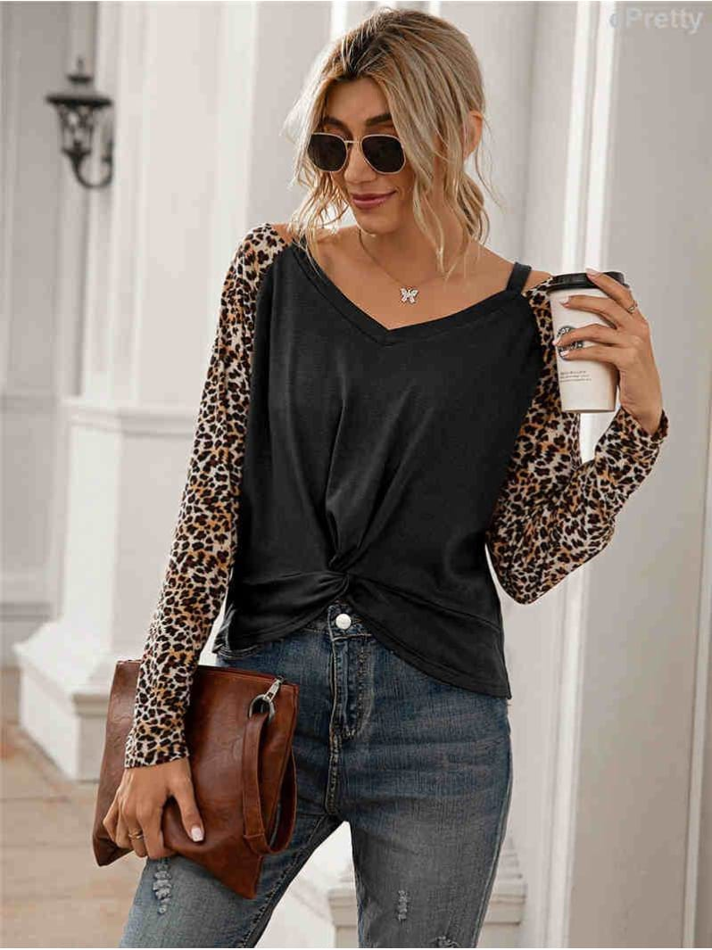 Leopard Cold Shoulder Top Black