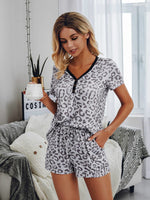 Leopard Lounge Set Grey White