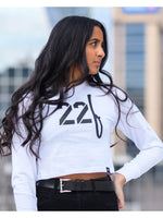 22F Crop Long Sleeve White