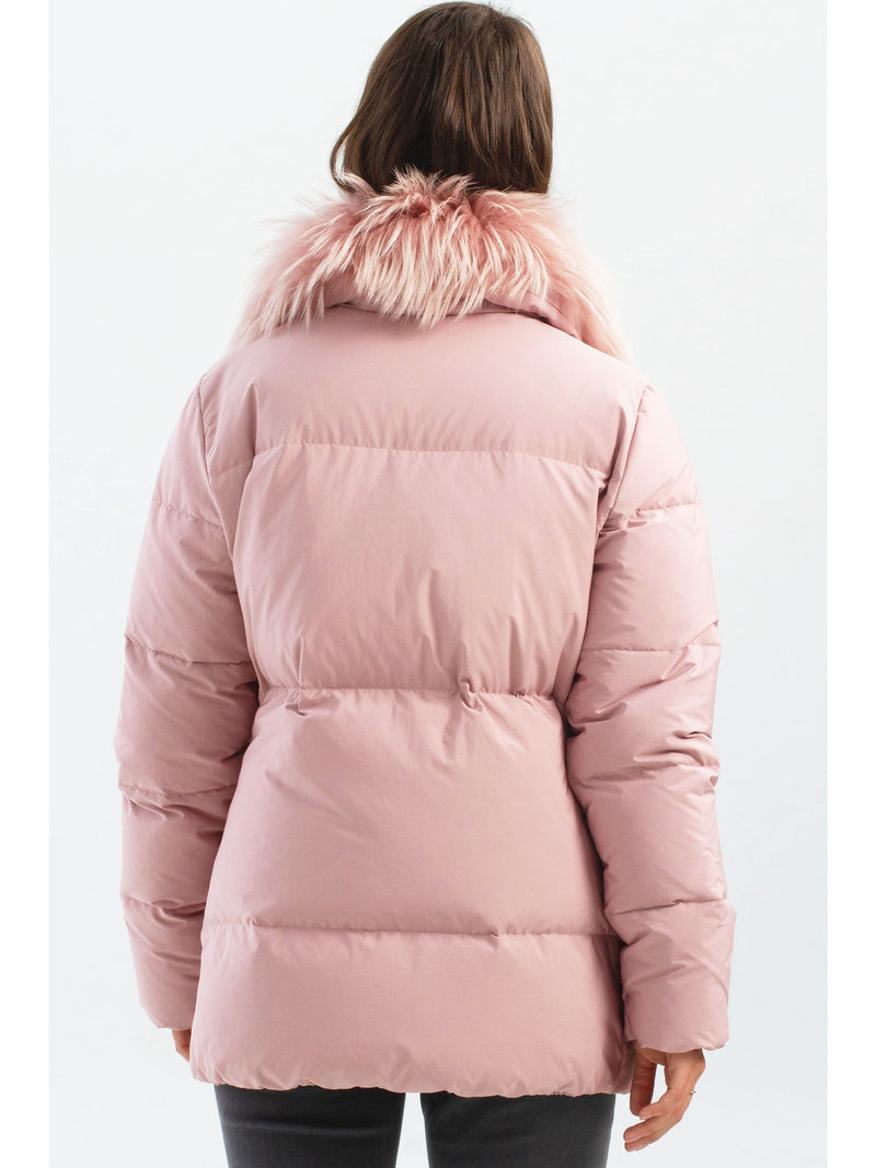 Down Puffer Jacket With Removable Fur Collar Pink
