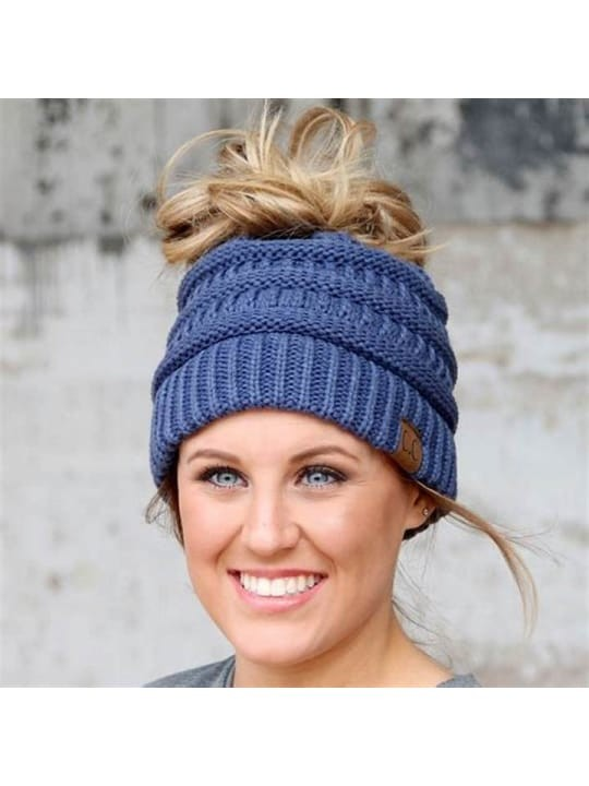 Messy Bun Beanie Denim