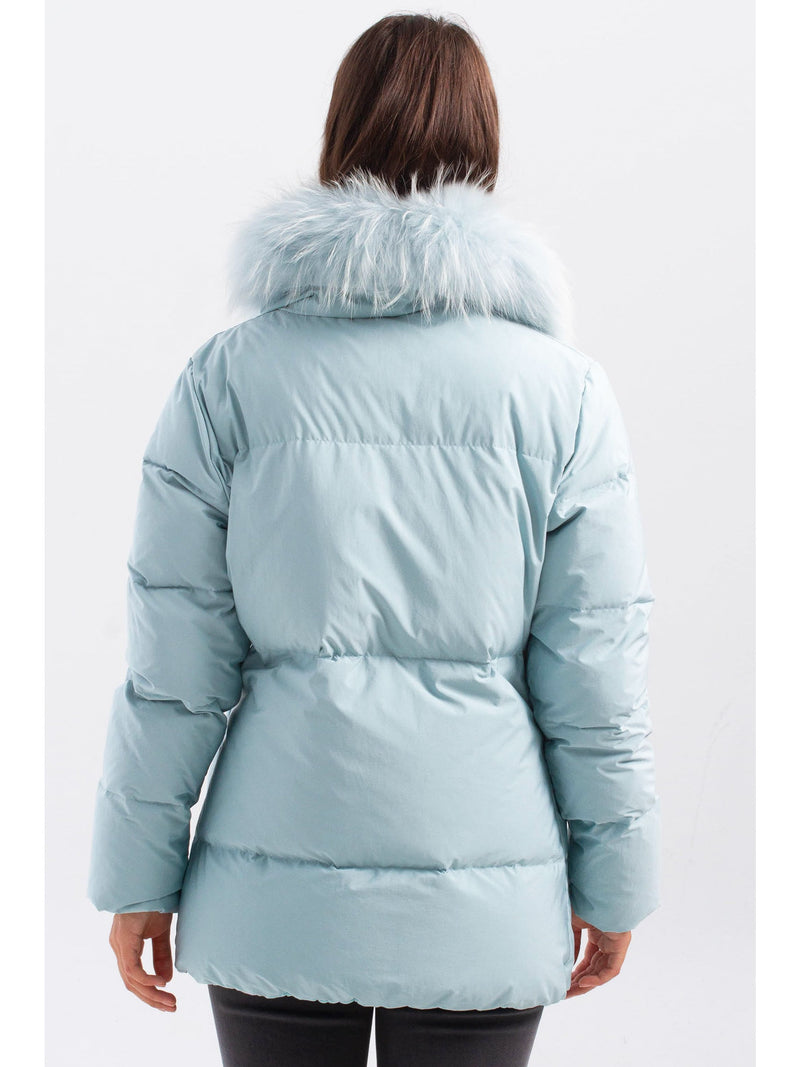 Down Puffer Jacket With Removable Fur Collar Blue