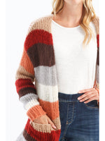 Long Striped Cardigan With Pockets Cayenne