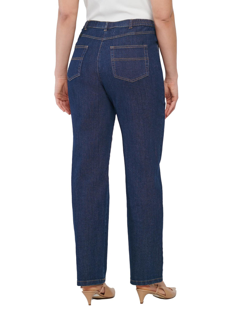 Stretch Diamond Denim Straight Leg Jean Dark Indigo