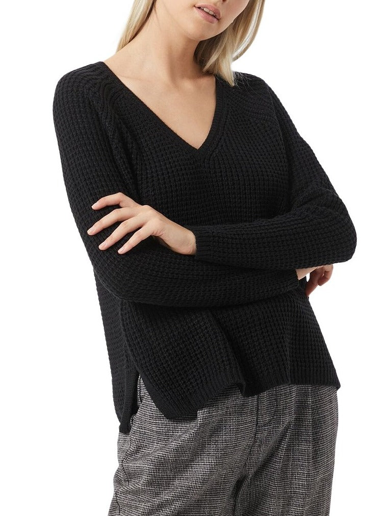 Chunky Knitted V-Neck Sweater