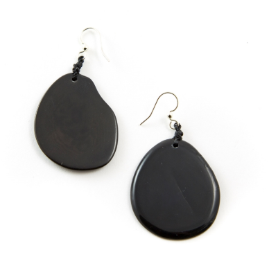 Black Tagua Nut Slice Earrings
