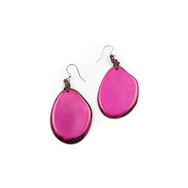 Fuchsia Tagua Nut Slice Earrings