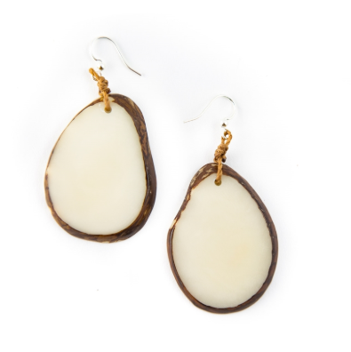Ivory Tagua Nut Slice Earrings