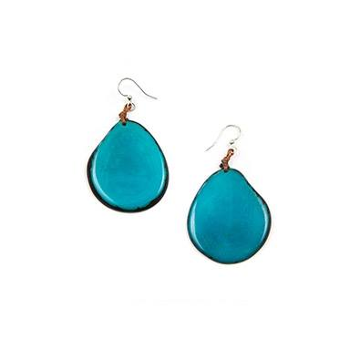 Turquoise Tagua Nut Slice Earrings
