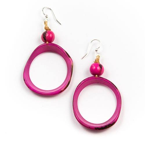 Fuchsia Tagua Nut Round Earrings