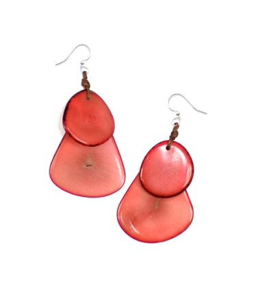 Coral Tagua Nut Earrings
