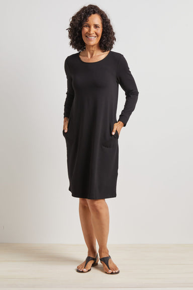 Black Scoop Neck Dress With Pockets