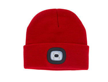 Red Knit Hat With Rechargeable LED Light