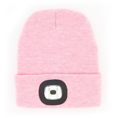 Pink Knit Hat With Rechargeable LED Light
