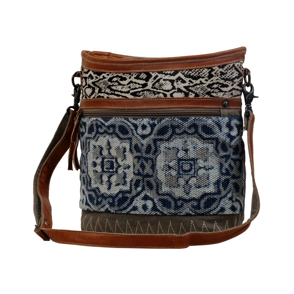 Blue Print & Python Accent Upcycled Shoulder Bag