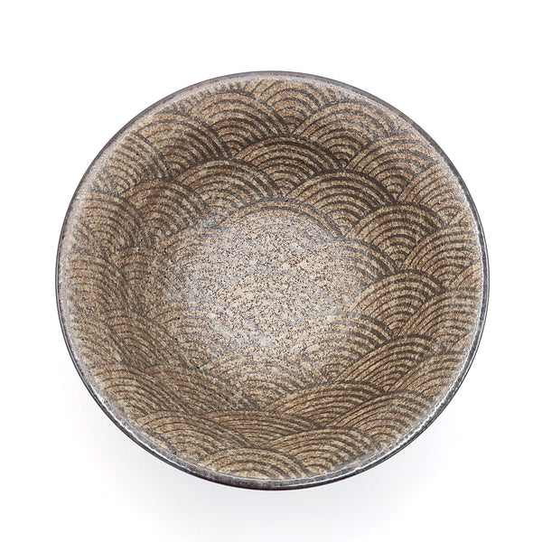Minoyaki Bronze Wave Japanese Bowl Head