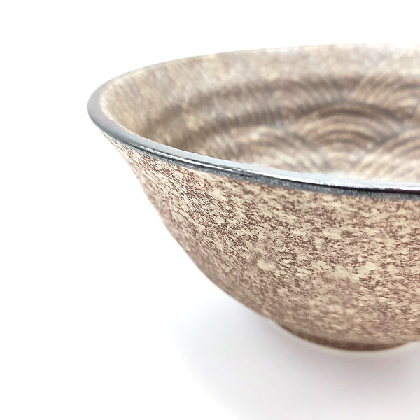 Minoyaki Bronze Wave Japanese Bowl Detail