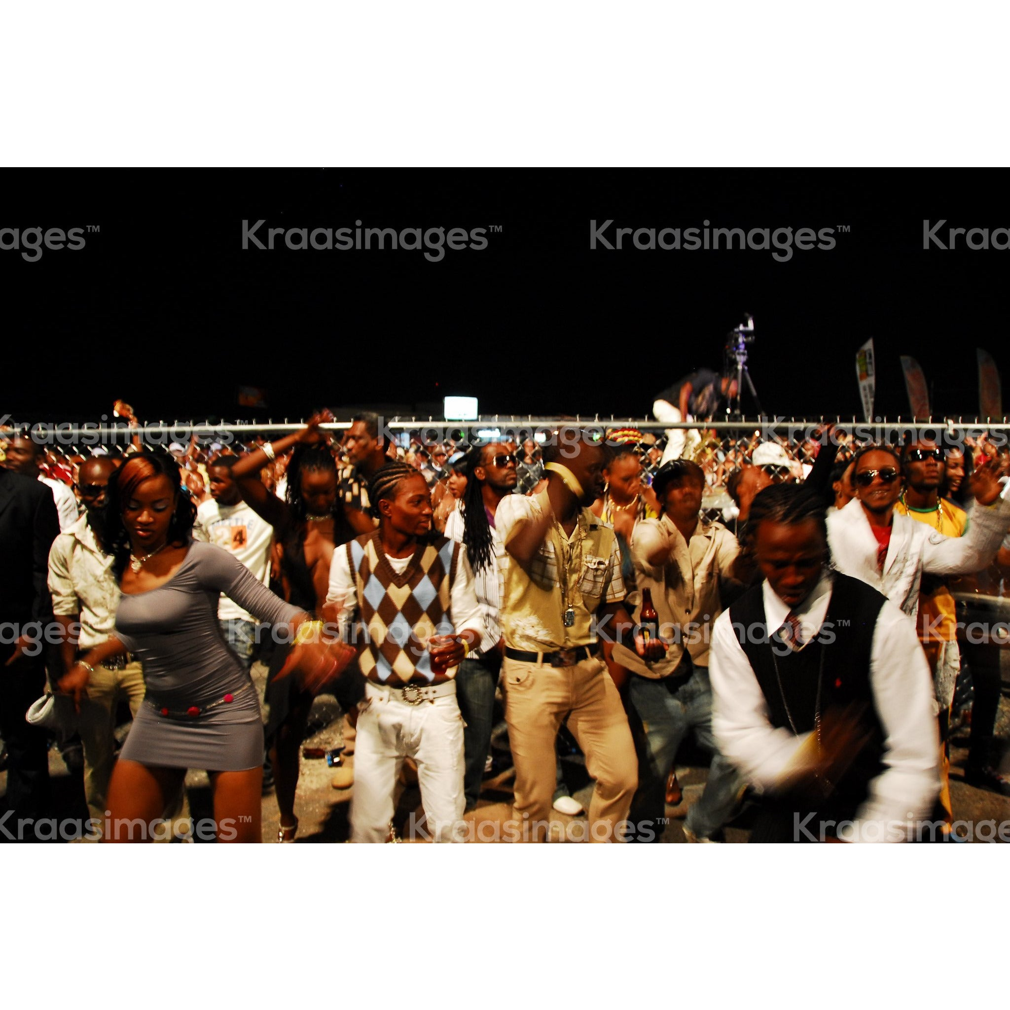 Crowd shot of patrons in a Jamaican dance. stock photo