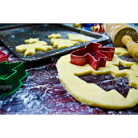Preparing christmas cookies stock photo