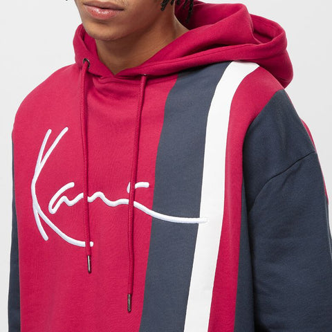 SIGNATURE BLOCK HOODIE DARK RED/NAVY