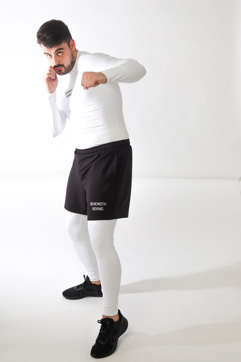 Compression Tights - White - Behemoth Boxing