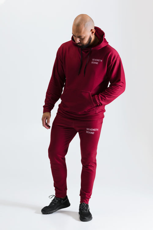 Behemoth Boxing Tracksuit Bottoms - Maroon - Behemoth Boxing