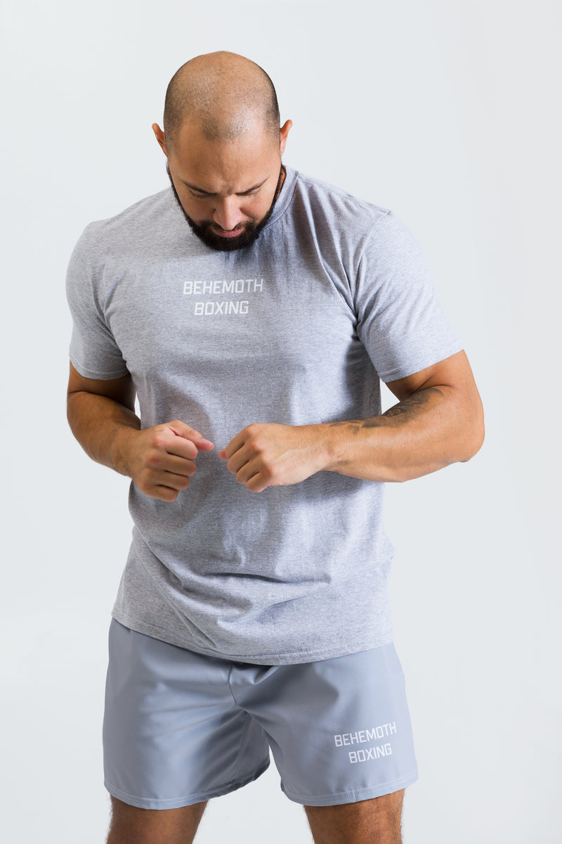 Men's Macho Tee - Grey with White - Behemoth Boxing