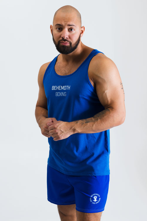 Men's Old School Tank - Blue with White - Behemoth Boxing