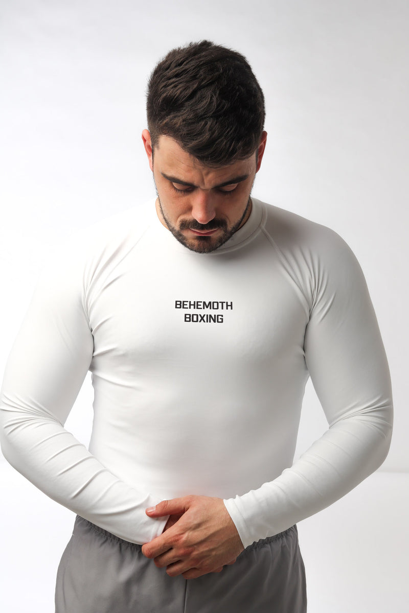 Men's Compression Top - White - Behemoth Boxing