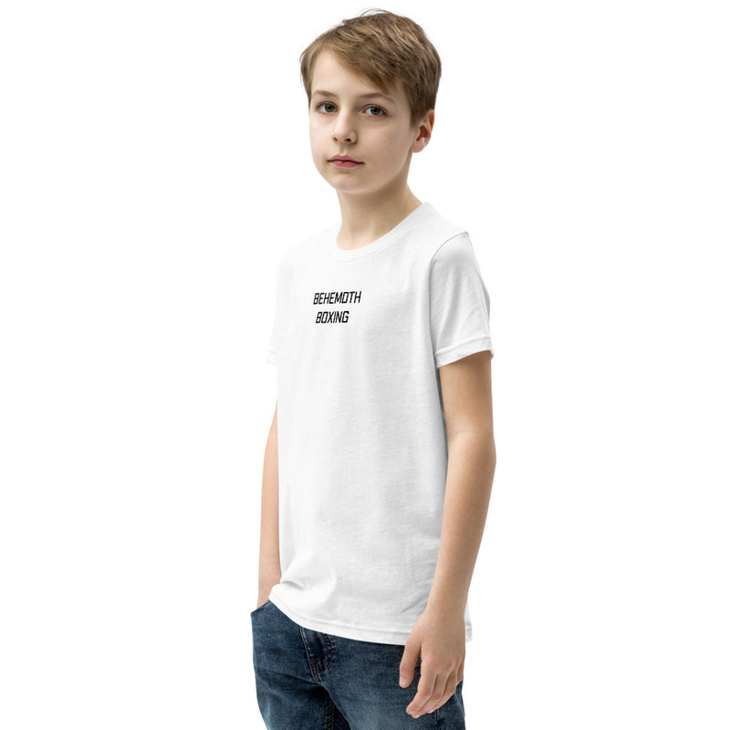 Behemoth Junior T-Shirt - White with Black - Behemoth Boxing