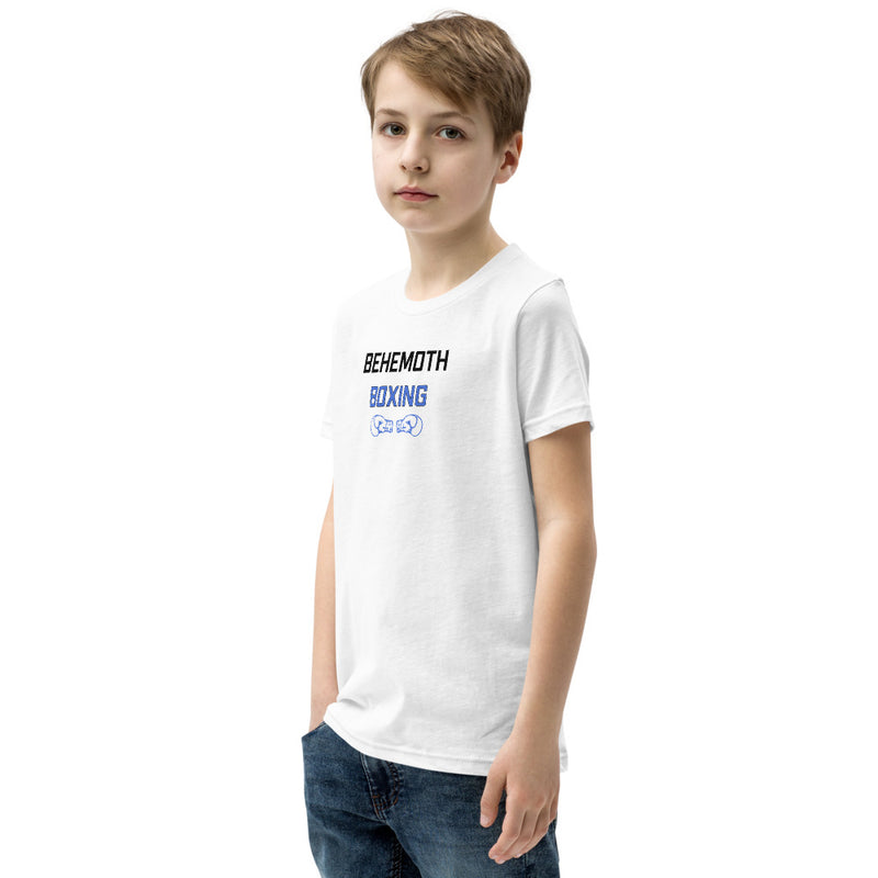 Behemoth Junior T-Shirt - White with Blue - Behemoth Boxing