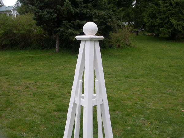 5' Pine Obelisk, Sphere Top, 3 Rails - Natural or with White Stain |  Free Shipping!