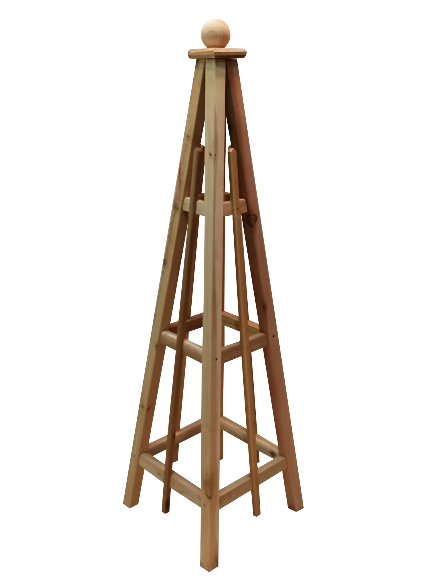 5' Cedar Obelisk, Sphere Top, 3 Rails - Natural Cedar or with Solid White Stain