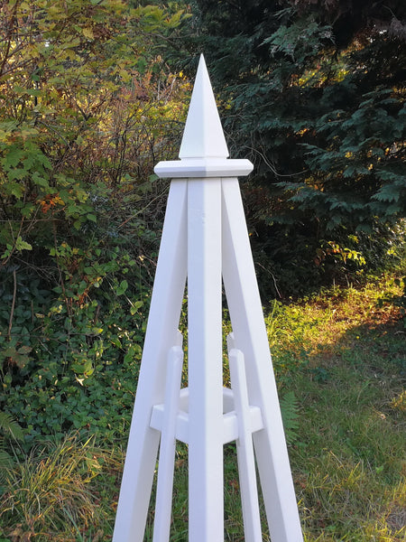 5' Pine Obelisk, Spire Top, 3 Rails | Natural Cedar or  with Solid White Stain | Free Shipping!