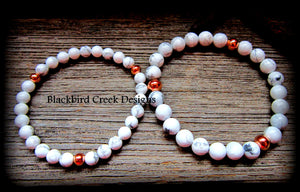 Yin Yang Rose Gold and White Howlite Bracelet, Stacking Bracelet