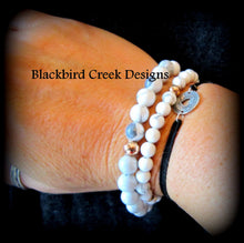 Load image into Gallery viewer, Yin Yang Rose Gold and White Howlite Bracelet, Stacking Bracelet