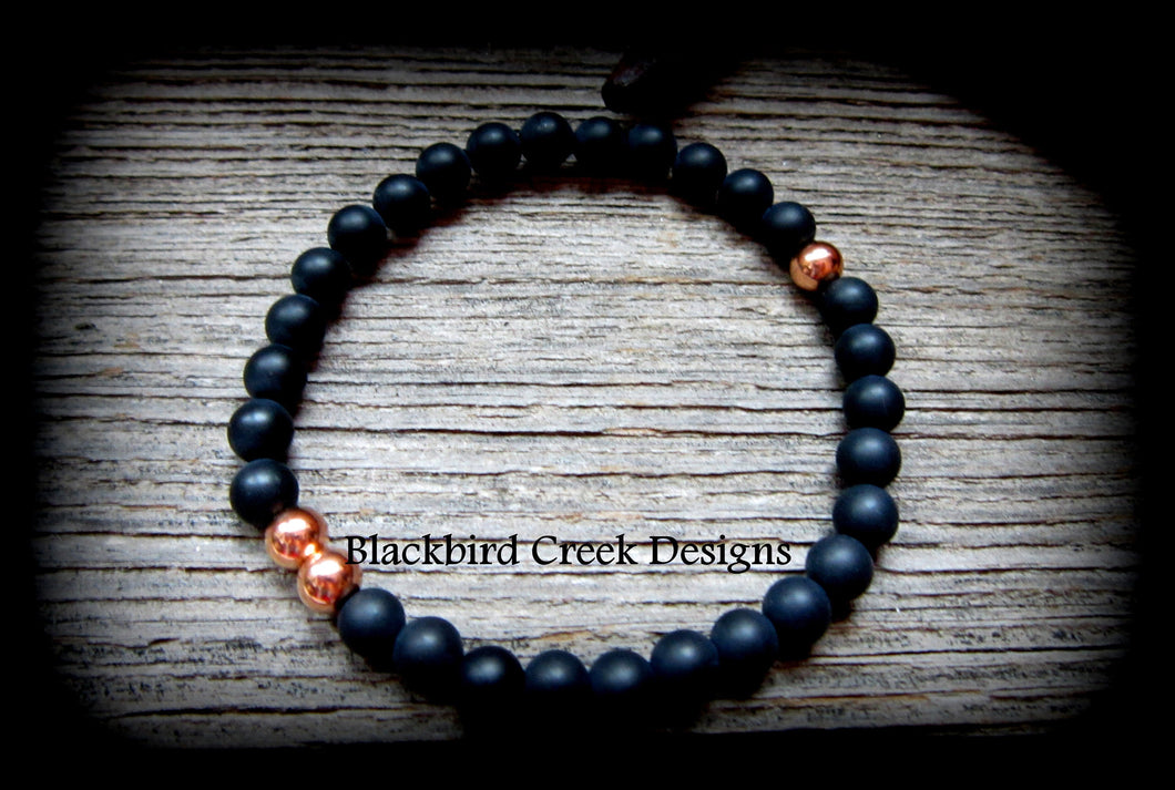 Yin Yang Rose Gold and Agate Bracelet, Stacking Bracelet