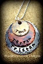 Load image into Gallery viewer, Triple Stack Rustic Sterling Silver, Copper and Brass Necklace, Personalized
