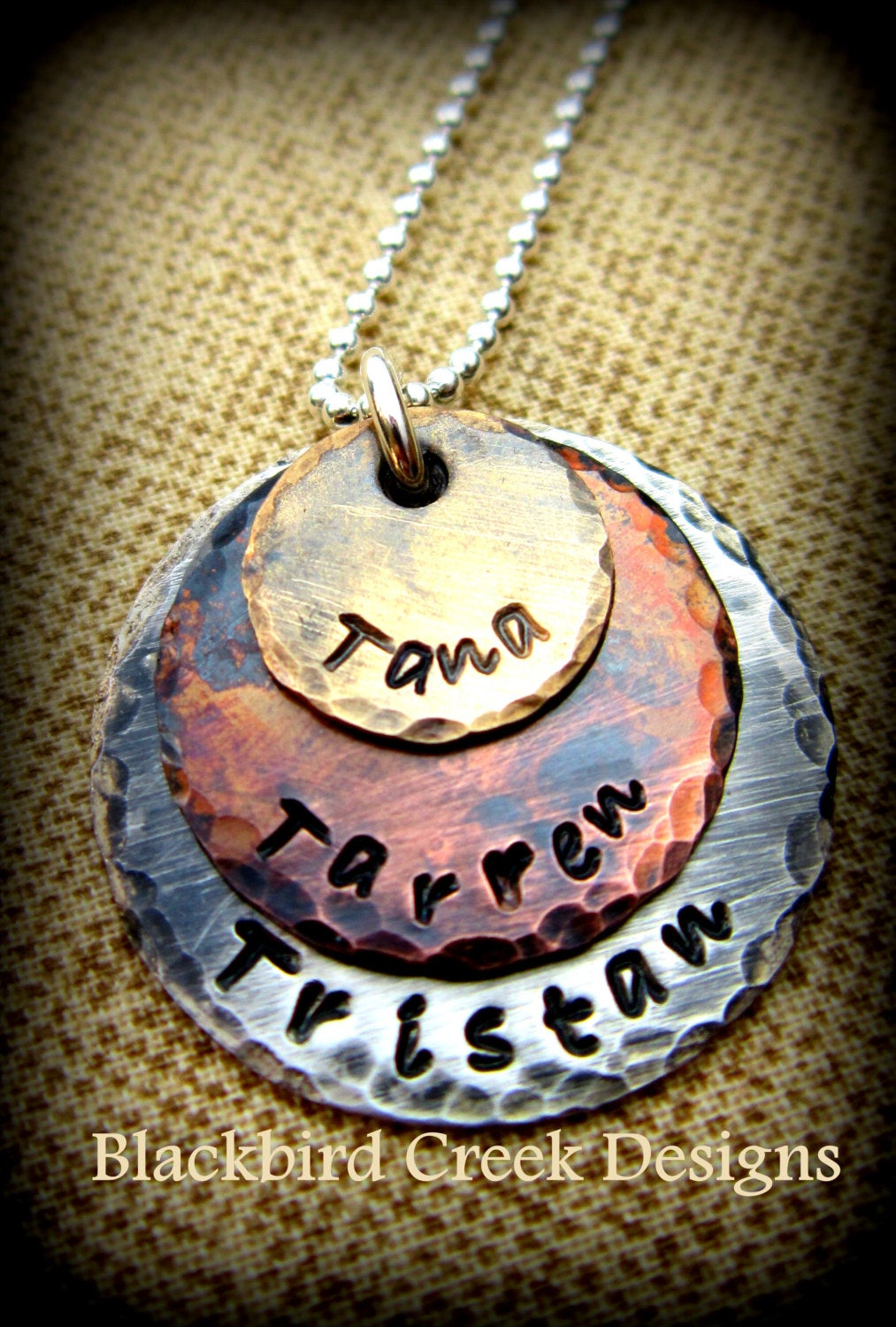 Triple Stack Rustic Sterling Silver, Copper and Brass Necklace, Personalized