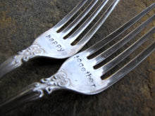 Load image into Gallery viewer, Wedding Cake Forks made from Vintage Silverware, Personalized, Hand Stamped