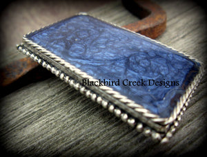 Midnight Blue Enamel Artwork Brooch, Necklace
