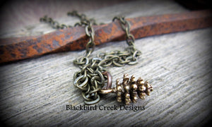 Brass Pine Cone Necklace