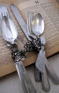 Wedding Table Place Setting made from Vintage Silverware, Personalized, Hand Stamped