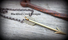 Load image into Gallery viewer, Aged Brass Arrow Necklace