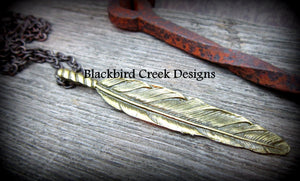 Aged Brass Feather Necklace