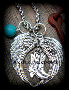 Angel Wings and Boots Necklace
